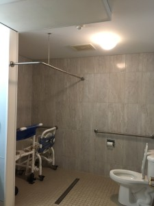 Newly complete walk-in shower at Mapleton