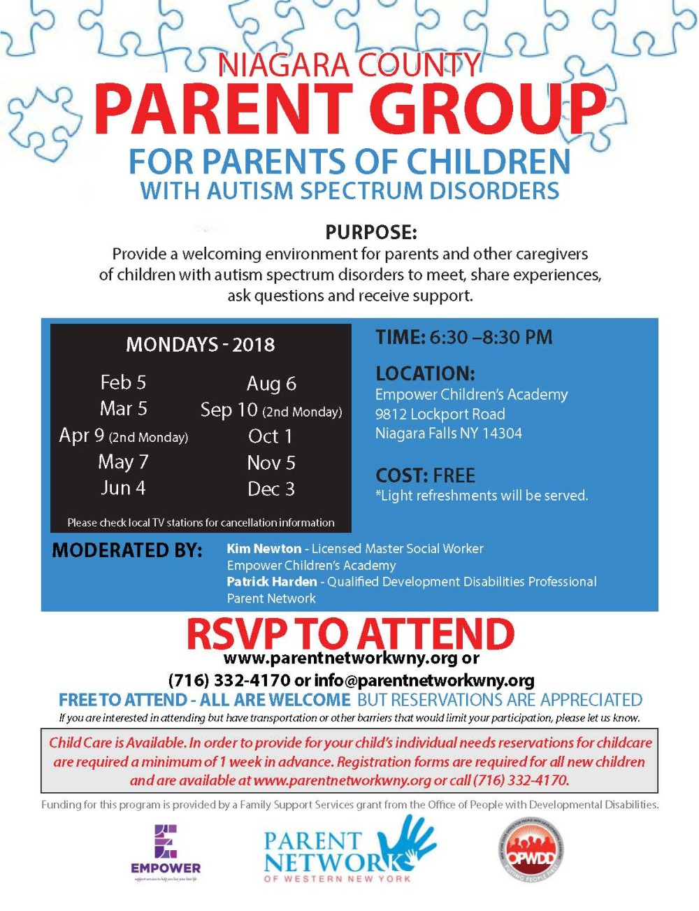 2018 Parent Group Flyer