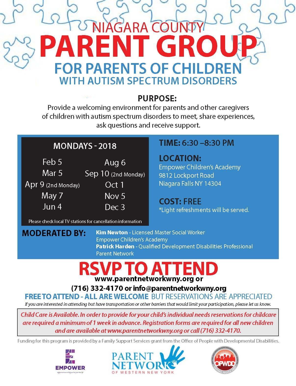 2018 Parent Group Flyer