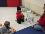 Pumpkin bowling as part of the fall festival