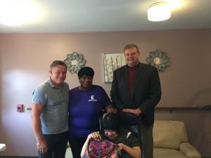 Program Coordinator Tim Teter, Ernestine Gayl, Director of Community Housing Bill Krayss and Dawn Jimerson